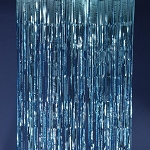 Blue metallic fringe curtains